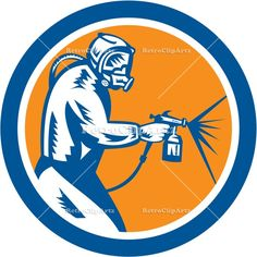 artwork, car painter, circle, graphics, head mask, holding, illustration, isolated, mask, paint gun, painter, retro, spray, spray gun, spray...