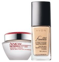 ANEW REVERSALIST Day Cream & Ideal Flawless Invisible Liquid Foundation Duo AVON Anti-Aging Skincare/Skin Care Beauty Products Avon Makeup