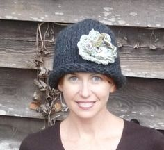 Dark Gray Chunky Knit Ladies Hat With Flower by lovemyknits, $18.00