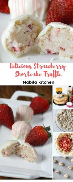 Valentines Food, Valentine Recipes, Strawberry Shortcake Truffle, Cake Truffles, Appetizer Recipes, Appetizers, Angel Food Cake, Other Recipes, Melting Chocolate
