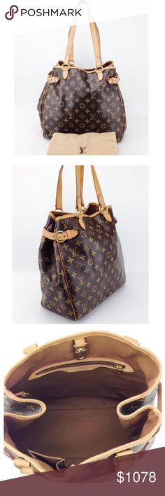 "Louis Vuitton Monogram Vertical Batignolles Tote Great condition! 100% pre-owned authentic. Date code reads CA1005. No trades.   Exterior features: - brown& tan monogram coated canvas&tan Vachetta leather trim w/ contrast yellow stitching - dual flat shoulder straps w/ 9.5"" drop - dual adjustable leather belt buckles on sides - top clasp closure  Interior features:  - solid brown canvas lining - zippered pocket on one wall w/ leather trim; small accessory open patch pocket on opposite wall…"