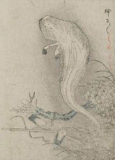 Buruburu, forest-dwelling ghost that causes victims to shiver violently - The Kaibatsu Ehon, Nabeta Gyokuei 1881