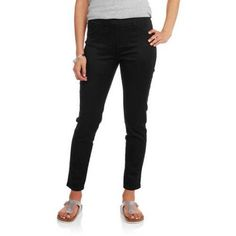 By Beau Dawson Women's Pull on Silk Denim Jegging with Faux Pockets, Size: Large, Black