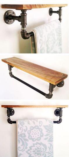 Reclaimed Wood & Pipe Shelf   #bathroom #towel #diy #home: