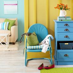This is your go-to guide for painting absolutely anything. Start looking around for ways to amp up your home with color! Using a variety of applications, you can add new color to almost any surface -- and give yourself new fu/ House Color Schemes, House Colors, Painted Furniture, Diy Furniture, Repainting Furniture, Refinished Furniture, Tinta Neon, Diy Casa, Cool Ideas