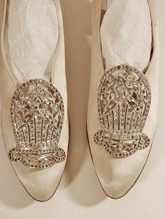 Rare Victorian Edwardian Art Deco 1900s Pavé Rhinestone Silver Shoe Clips