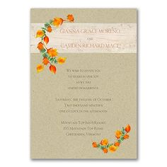 Bright Leaves Wedding Invitation 40% OFF  |  http://mediaplus.carlsoncraft.com/Wedding/Wedding-Invitations/3254-TWS38785-Bright-Leaves--Invitation.pro  |  TWS38785 Perfect for your rustic fall wedding! Bright leaves, kraft paper and your personalization on a wood grain band set an autumn tone.