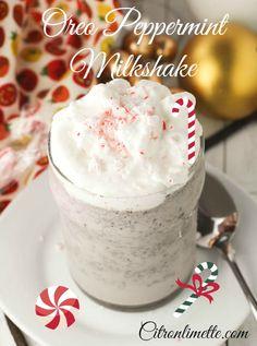 Oreo Peppermint Milkshake! A Perfect Holiday Drink! #peppermint #drink, #milkshake, #smoothie