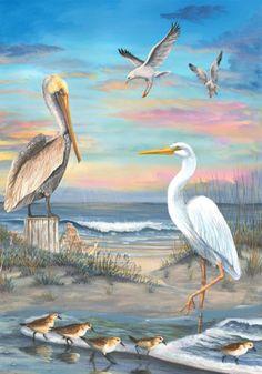 Shore Gathering Pelican Egret Gulls Sandpipers Custom Decor House Flag USA Print | eBay