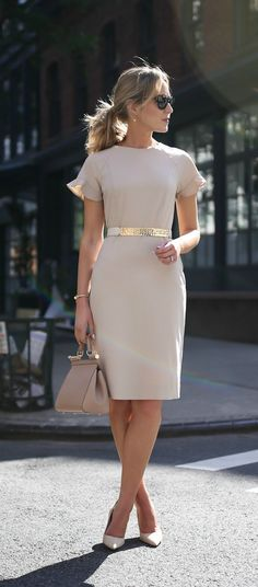beige nude short sleeve sheath dress with flutter sleeves  hammered gold nude accent waist belt  suede nude pointed toe pumps  classic work wear office style professional women  kate spade j crew