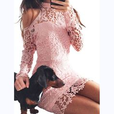 Fashion Lace Hollow Off Shoulder Irregular Long Sleeve Bodycon Mini Dress