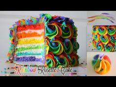 Rainbow Rosette Cake! - YouTube