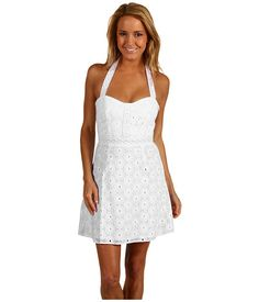 Laundry by Shelli Segal Cotton Eyelet Dress With Lace Straps White - 6pm.com