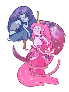adventure time fan art - princess bubblegum and marceline in the cosmos