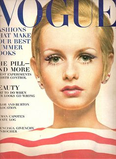 Vogue April 15 1967 - Twiggy! Lesley Hornby Lawson is known by the nickname Twiggy. An English model, actress and singer, she became a prominent British teenage model of swinging 60's. Known for her thin build, hence her nickname and her androgynous look consisting of large eyes, long eyelashes, and short hair. Besides modelling she has had a successful career as a screen, stage and telly actress.