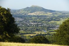 Abergavenny from the Blorenge mountain with skirrid in the background