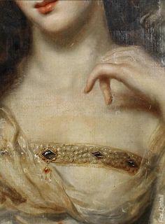 English School, early XIX century, Portrait of a lady, detail