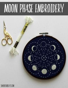 A stitched up version of a moon embroidery pattern from CozyBlue using glow in the dark floss from DMC - I share a few views of the sashiko stitching! Such a lovely beginner embroidery pattern and fun to stitch. #embroidery #moonphases #sashiko