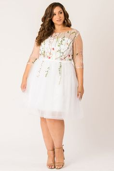 You will love yourself in the most adorable embroidered dress Fabric at bodice is nylon net Fully lined dress Sweetheart neckline sleeves Belt at waist (attached) Back zipper Dry clean only. Embroidered styles may take days extra for delivery. Plus Size Ivory Dresses, Plus Size Gowns, Plus Size Outfits, Curvy Women Outfits, Clothes For Women, Curvy Girl Fashion, Plus Size Fashion, Curvy Dress, Plus Size Wedding