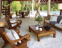 oh yeah. a sandbox never looked so good! -m   :: Maldives, Asia: living room of a Beach Villa at the Four Seasons Landaa Giraavaru, Baa Atoll, Maldives