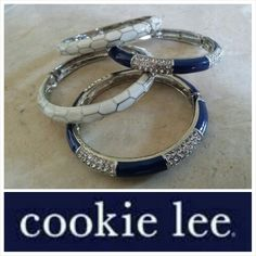 "My new favorite things .. ""Navy Shimmer Crystal Bangle"" $26 and our ""Ivory Essence Geo Bangle"" $18 Msg me if interested.  Not available in any catalog and LIMITED SUPPLY. #cookielee #fashion #jewelry #accessories #style #fabulousforless #bling www.CookieLeeJewelryOnline.com"