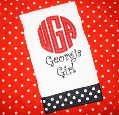 UGA Georgia Bulldogs Baby Burp Cloth-Choose your team
