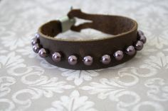 Leather and Pearl cuff bracelet by dmexclusives on Etsy, $19.50