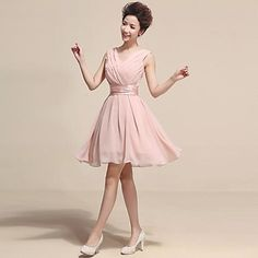 Princess V- Neck Knee Length Chiffon  Celebrate Dress – USD $ 59.99