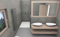 Badezimmer Planung mit Doppelwaschtischen und offener Dusche