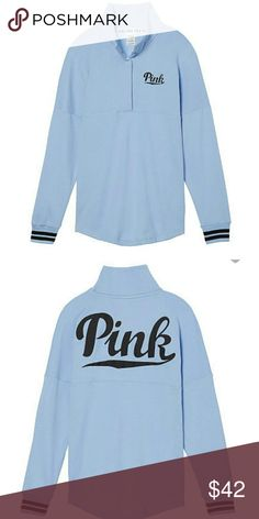 Brand new PINK quarter snap This is a brand new with tags PINK brand quarter snap. It is a light blue color with black details. Pink is written in black on the back with black lines on the wrists. No low prices, only discount will be bundles! PINK Victoria's Secret Tops Sweatshirts & Hoodies