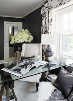 Suzie: Joel Woodward - Chic black office design with bold black walls paint color, white & . home office Inspiration : 10 Beautiful Home O. Home Office Space, Home Office Design, Home Office Decor, House Design, Office Ideas, Home Decor, Office Chic, Office Spaces, Work Spaces
