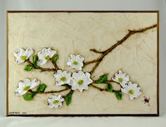 "Dogwood Branch - large Size: 14"" x 20""  weight - 5.25 lbs Handcrafted relief sculpture"