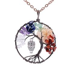 Cute Owl Natural Amethyst Rainbow Tree of Life Necklace A...