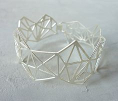 Geometric Diamond Bracelet Architectural jewelry by shlomitofir