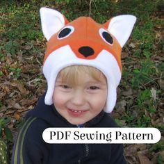Fleece Fox Hat PDF Sewing Pattern Woodland by LambkinCreative Fleece Hat Pattern, Hat Patterns To Sew, Sewing Patterns Free, Free Sewing, Polaroid, Fox Hat, Diy Baby Gifts, Animal Hats, Giraffe Print