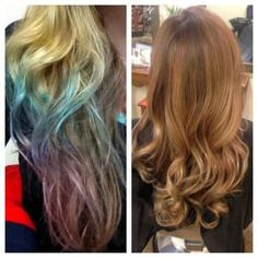 How to remove a blue and purple dip dye effect from the hair.