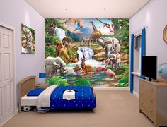 Multicoloured Walltastic Animals of The Forest Wallpaper Mural 8ft by 10ft