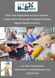 Browse the boundless and most-trusted advertisement for experienced home improvement professionals. You can also post ads for Handyman services Brampton. Ceiling Crown Molding, Drywall Repair, Wood Vinyl, Furniture Assembly, Home Improvement, Advertising, People, People Illustration, Home Improvements