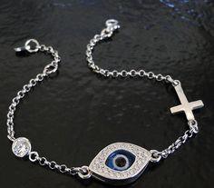 Lucky Evil Eye Cross And CZ Bracelet As Seen On Kim Kardashian And Kelly Ripa - Celebrity Style, Sterling Silver