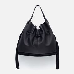 Designer Clothes, Shoes & Bags for Women Black Leather Handbags, Leather Purses, Leather Bags, Tassel Purse, Zara New, Real Leather, Me Too Shoes, Bucket Bag, Pom Poms