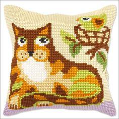 <h2>Le chat et l'oiseau: Kit coussin point de croix canevas gros trous…