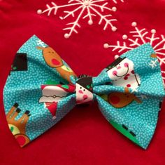 Snow Themed Bow/Bow Tie by PawtyDog on Etsy
