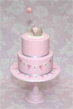 This cake is based on my original Baby Elephant Cake but in Pink, White and Grey colours, for a little girl's Birthday. The Baby Elephant figurine is made to match the cute Invitations and Party Printables designed by Sarah from. Baby Cakes, Baby Shower Cakes, Girl Cakes, Elephant Baby Shower Cake, Elephant Cakes, Elephant Balloon, Pink First Birthday, Baby Birthday, Elephant Birthday