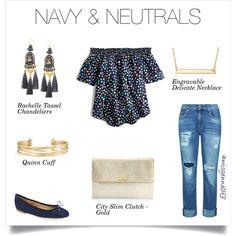 Gorgeous golden accents compliment this fun navy ensemble!