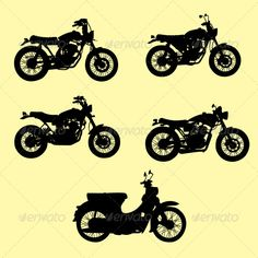 Motorcycle Silhouette Vector Set  #GraphicRiver         motorcycle Silhouette vector set, Easy to use. ZIP file included : EPS (CMYK vector file = you can use any size you want without loss resolution), JPEG (RGB high resolution file 4000×4000 px) . No layers. Use Adobe Illustrator 8 or higher to edit EPS (vector file) or Adobe Photoshop to edit JPEG file. You can see detail in Screenshots menu.     Created: 18April13 GraphicsFilesIncluded: VectorEPS Layered: No MinimumAdobeCSVersion: CS…