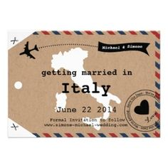 Italy Airmail Luggage Tag Save the Date by Designkandy, as low as $1.35 each for 100
