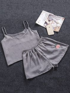#mothersday #AdoreWe #ROMWE - #ROMWE Rose Embroidered Patch Cami Pajama Set - AdoreWe.com