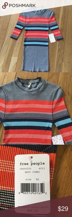 NWT Free People Stripe Sweater Elbow sleeve sweater, size XS Free People Sweaters Crew & Scoop Necks