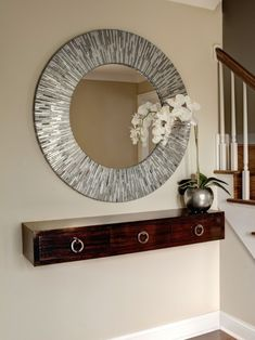 Foyer %u2014 Small Spaces Design, Pictures, Remodel, Decor and Ideas- so I had a crazy idea, but what if, since the drawer is connected to the wall attach table legs? Looks like a table but its small enough for the entry way and secure enough not to break.