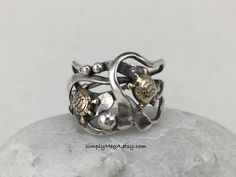 Double Brass Turtle in silver kelp with pods mixed metal ring size 7 3/4 ready to ship by simplyMegA on Etsy